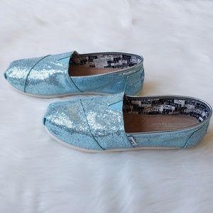 Toms Classic Youth Turquoise Glitter Alpargata